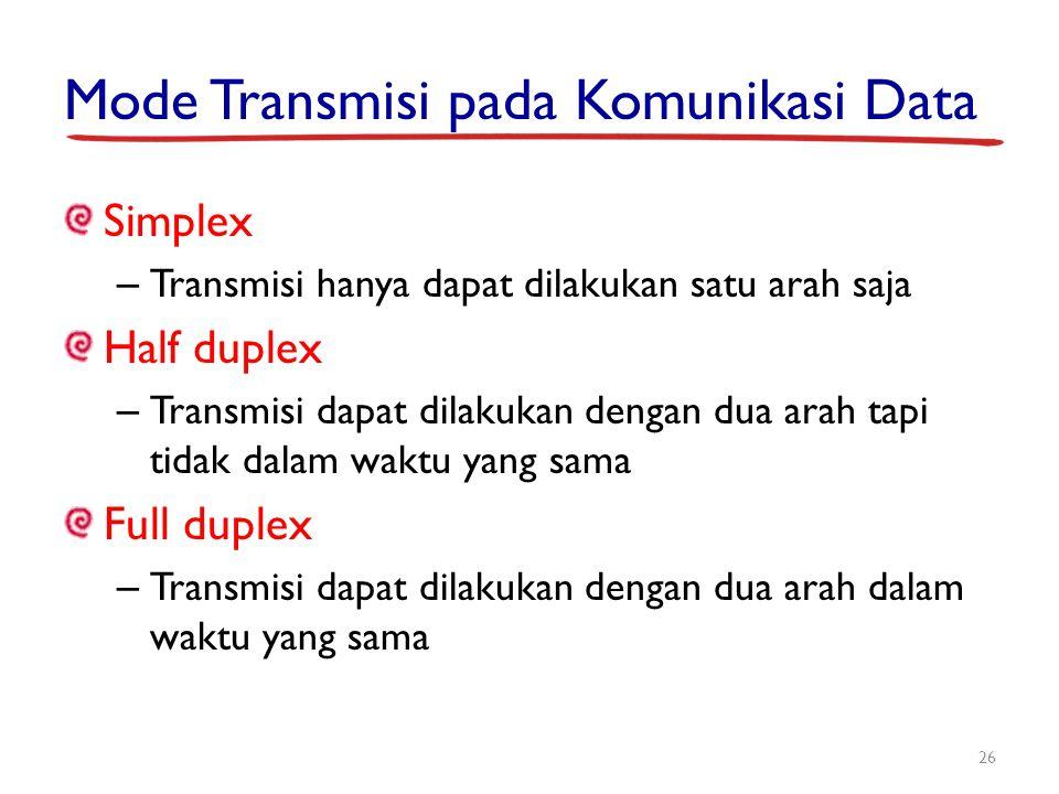 Mode Transmisi pada Komunikasi Data Simplex – Transmisi hanya dapat dilakukan satu arah saja Half duplex – Transmisi dapat dilakukan dengan dua arah t