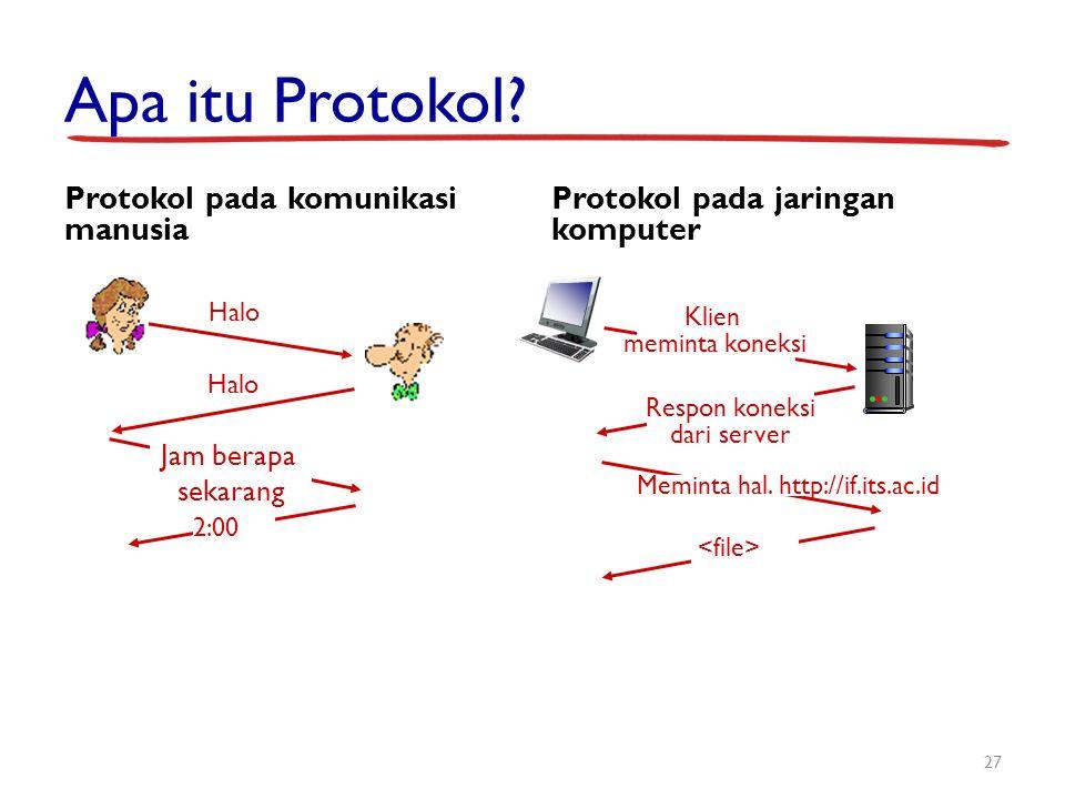 Apa itu Protokol? Protokol pada komunikasi manusia Protokol pada jaringan komputer 27 Halo Jam berapa sekarang 2:00 Respon koneksi dari server Meminta