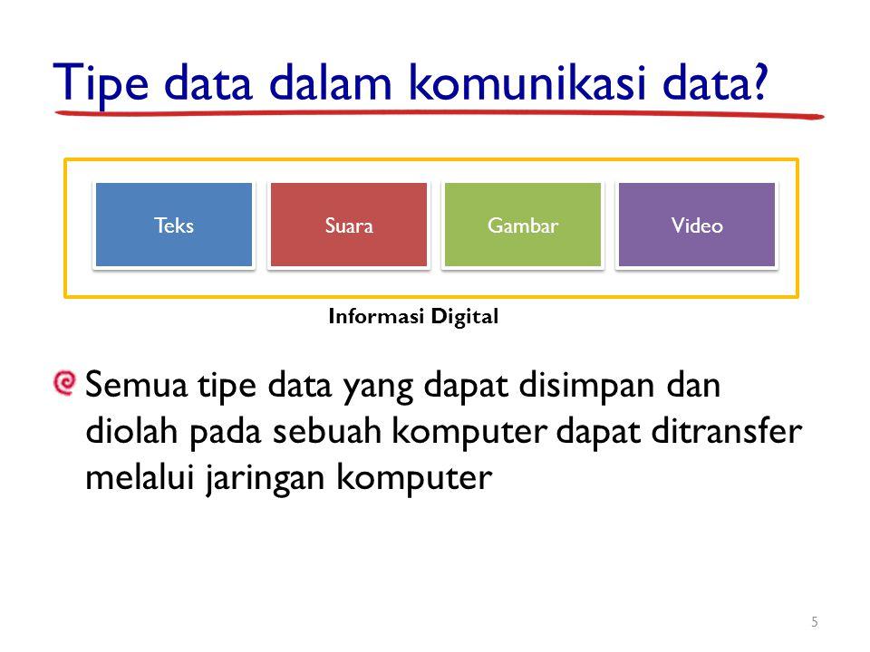 Tipe data dalam komunikasi data? Semua tipe data yang dapat disimpan dan diolah pada sebuah komputer dapat ditransfer melalui jaringan komputer 5 Teks