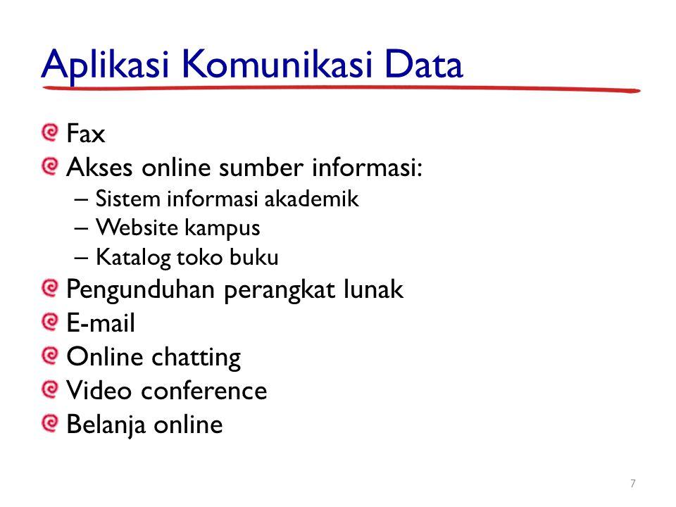 Aplikasi Komunikasi Data Fax Akses online sumber informasi: – Sistem informasi akademik – Website kampus – Katalog toko buku Pengunduhan perangkat lun