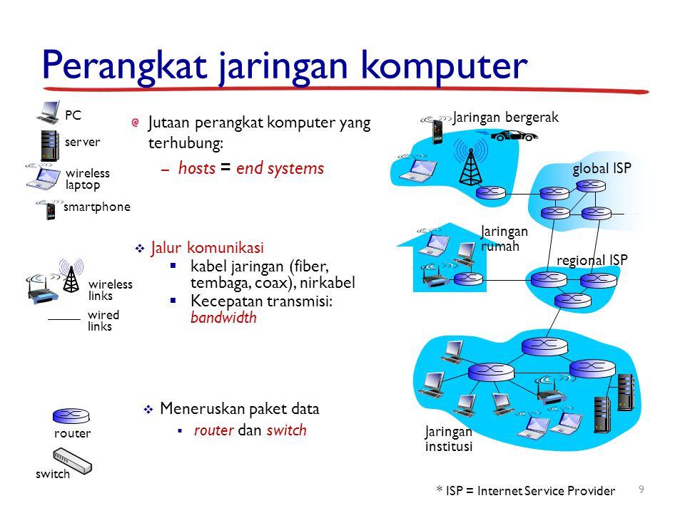Perangkat jaringan komputer 9 Jutaan perangkat komputer yang terhubung: – hosts = end systems  Jalur komunikasi  kabel jaringan (fiber, tembaga, coa