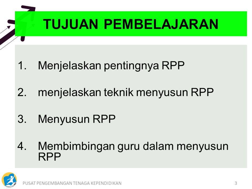 PUSAT PENGEMBANGAN TENAGA KEPENDIDIKAN3 1.Menjelaskan pentingnya RPP 2.menjelaskan teknik menyusun RPP 3.Menyusun RPP 4.Membimbingan guru dalam menyusun RPP TUJUAN PEMBELAJARAN