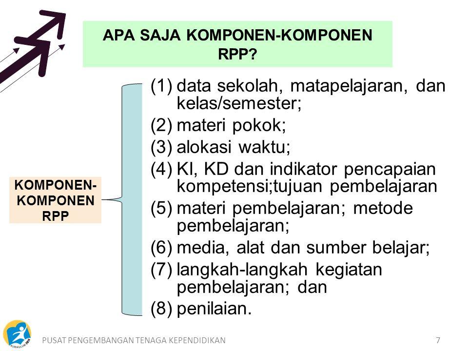 PUSAT PENGEMBANGAN TENAGA KEPENDIDIKAN7 APA SAJA KOMPONEN-KOMPONEN RPP.