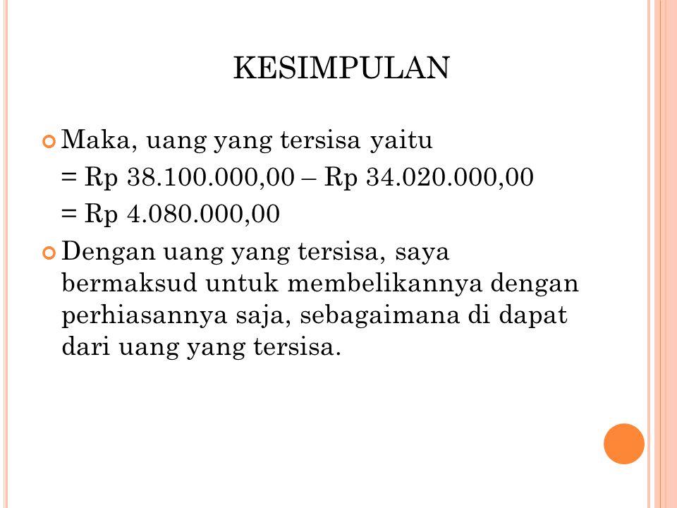 Maka, uang yang tersisa yaitu = Rp 38.100.000,00 – Rp 34.020.000,00 = Rp 4.080.000,00 Dengan uang yang tersisa, saya bermaksud untuk membelikannya dengan perhiasannya saja, sebagaimana di dapat dari uang yang tersisa.