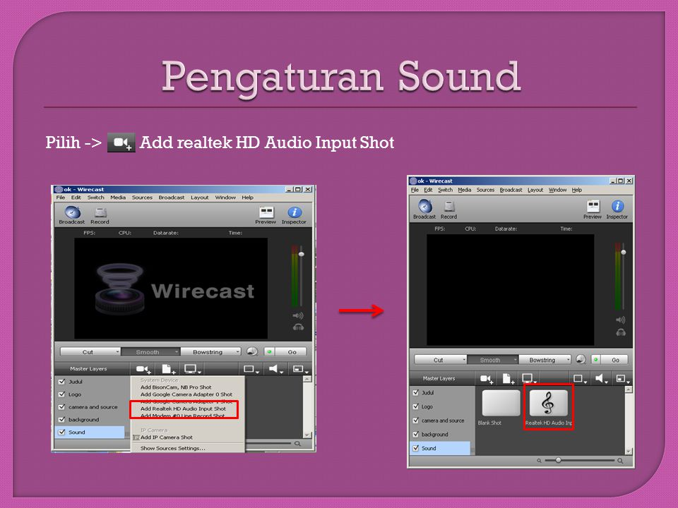Pilih -> Add realtek HD Audio Input Shot
