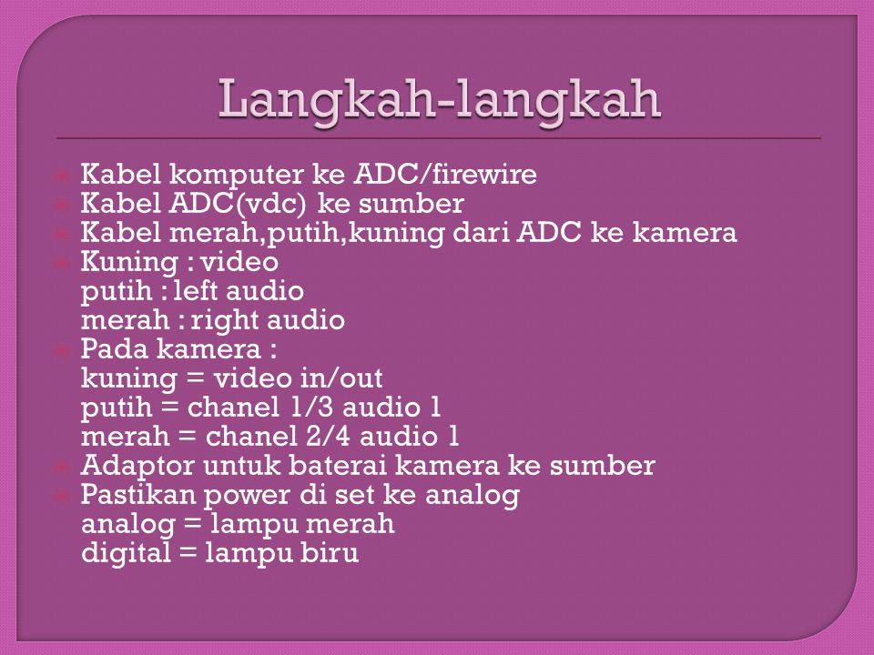  Kabel komputer ke ADC/firewire  Kabel ADC(vdc) ke sumber  Kabel merah,putih,kuning dari ADC ke kamera  Kuning : video putih : left audio merah :