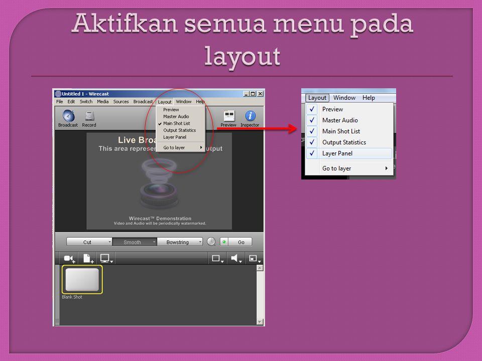 Pilih Master Layer ‐ > Klik Kanan ‐ > Rename Layer Upayakan hasilnya ada Judul, Logo, Camera dan Source, Sound, dan Background atau pun nama lain sesuai dengan kebutuhan.