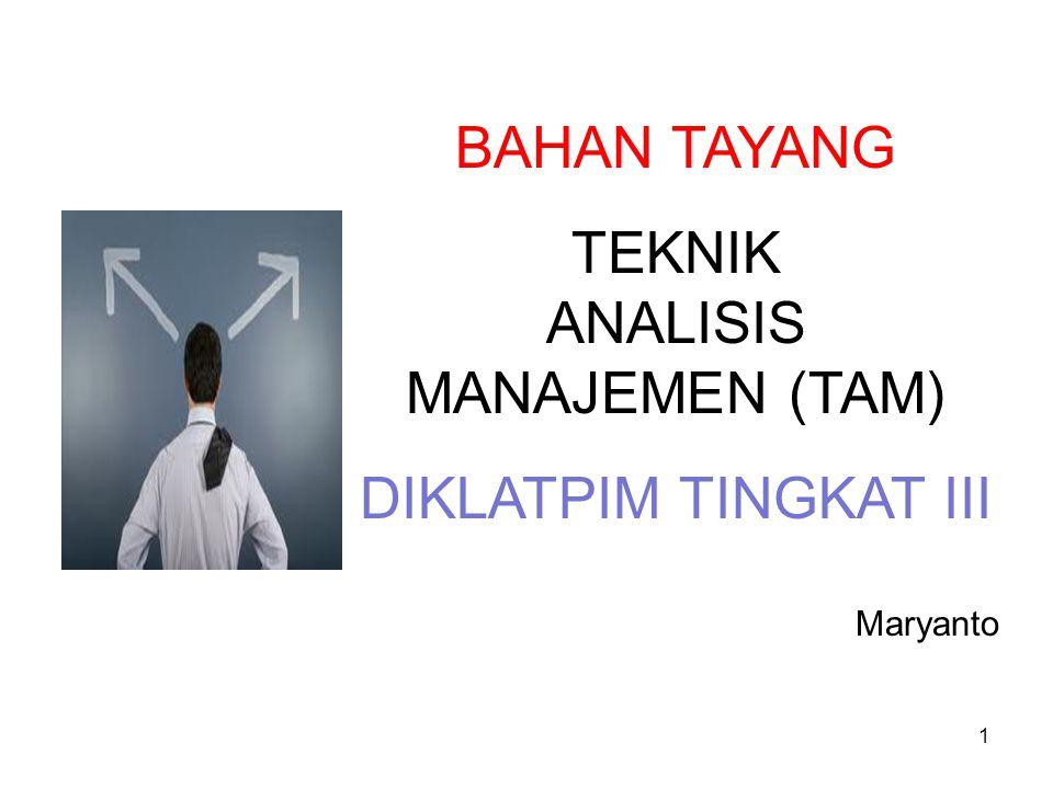 1 BAHAN TAYANG TEKNIK ANALISIS MANAJEMEN (TAM) DIKLATPIM TINGKAT III Maryanto