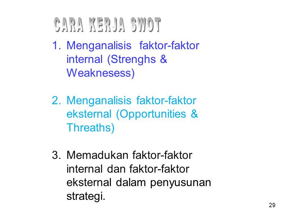 1.Menganalisis faktor-faktor internal (Strenghs & Weaknesess) 2.Menganalisis faktor-faktor eksternal (Opportunities & Threaths) 3.Memadukan faktor-fak