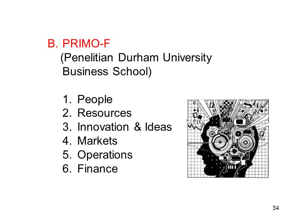 B.PRIMO-F (Penelitian Durham University Business School) 1.People 2.Resources 3.Innovation & Ideas 4.Markets 5.Operations 6.Finance 34