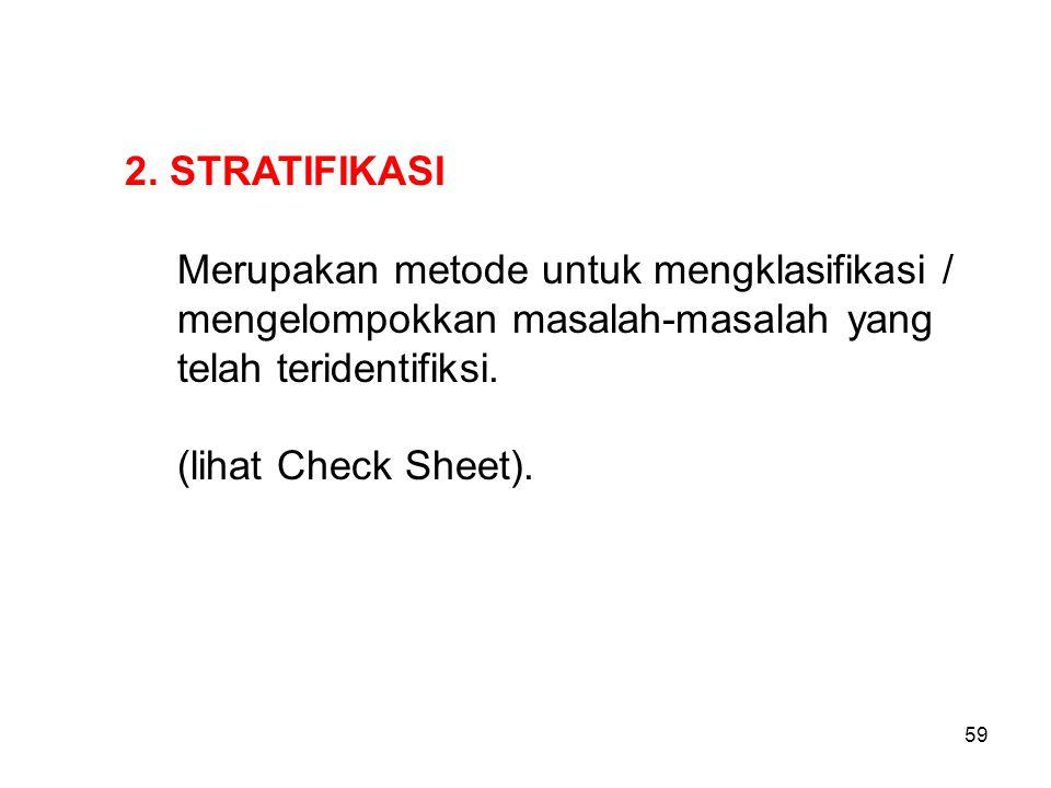 2. STRATIFIKASI Merupakan metode untuk mengklasifikasi / mengelompokkan masalah-masalah yang telah teridentifiksi. (lihat Check Sheet). 59