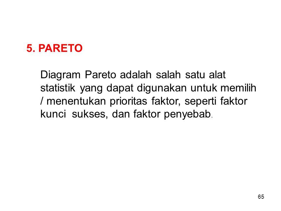 5. PARETO Diagram Pareto adalah salah satu alat statistik yang dapat digunakan untuk memilih / menentukan prioritas faktor, seperti faktor kunci sukse