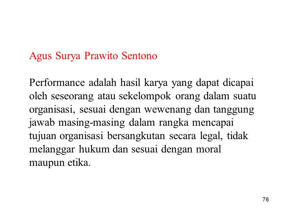 Agus Surya Prawito Sentono Performance adalah hasil karya yang dapat dicapai oleh seseorang atau sekelompok orang dalam suatu organisasi, sesuai denga