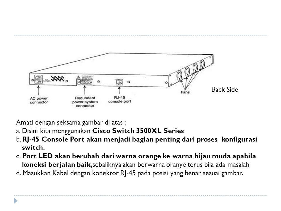 Back Side Amati dengan seksama gambar di atas ; a. Disini kita menggunakan Cisco Switch 3500XL Series b. RJ-45 Console Port akan menjadi bagian pentin