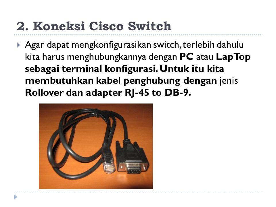 2. Koneksi Cisco Switch  Agar dapat mengkonfigurasikan switch, terlebih dahulu kita harus menghubungkannya dengan PC atau LapTop sebagai terminal kon