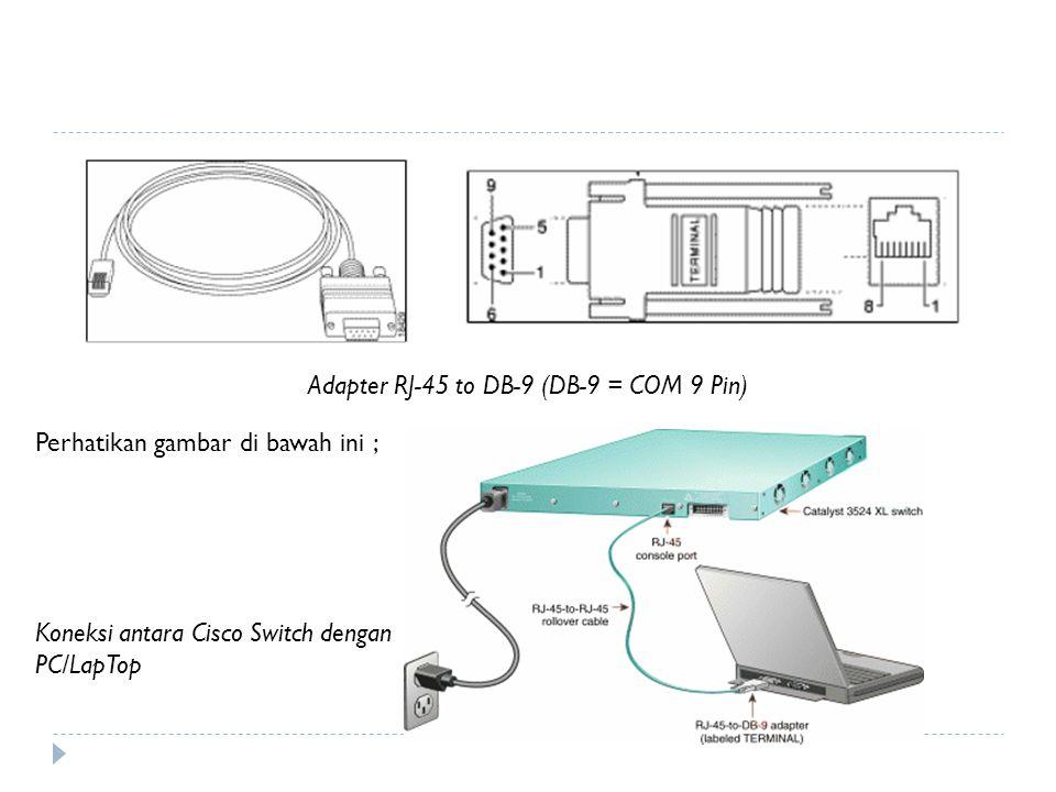 Adapter RJ-45 to DB-9 (DB-9 = COM 9 Pin) Perhatikan gambar di bawah ini ; Koneksi antara Cisco Switch dengan PC/LapTop