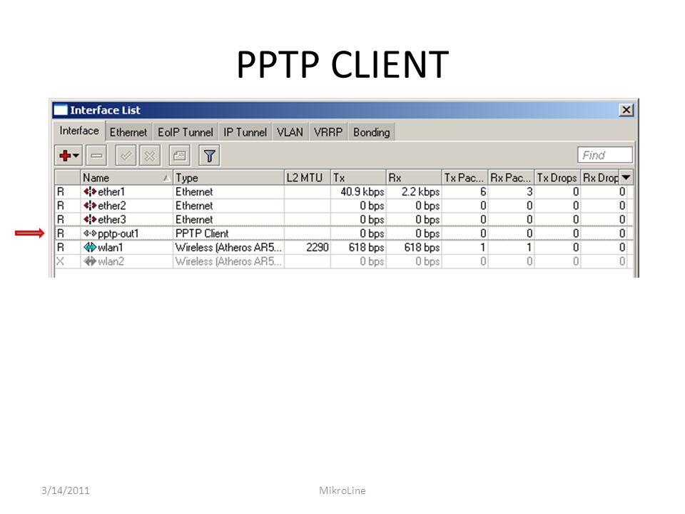PPTP CLIENT 3/14/2011MikroLine