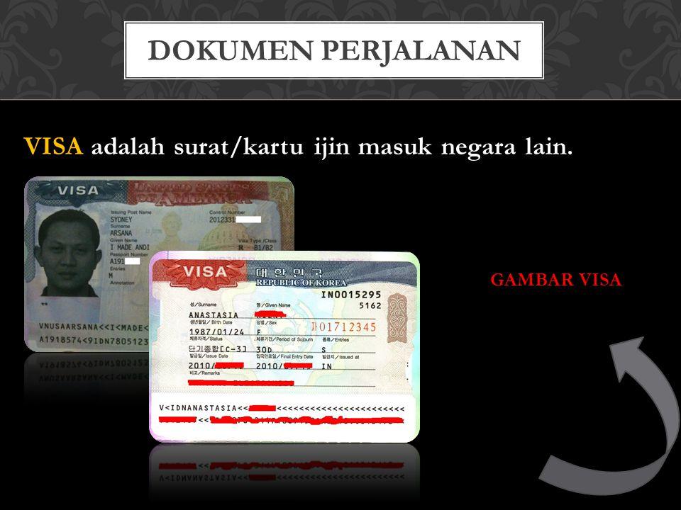 VISA adalah surat/kartu ijin masuk negara lain. GAMBAR VISA DOKUMEN PERJALANAN