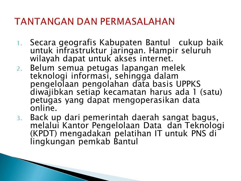 1. Secara geografis Kabupaten Bantul cukup baik untuk infrastruktur jaringan. Hampir seluruh wilayah dapat untuk akses internet. 2. Belum semua petuga