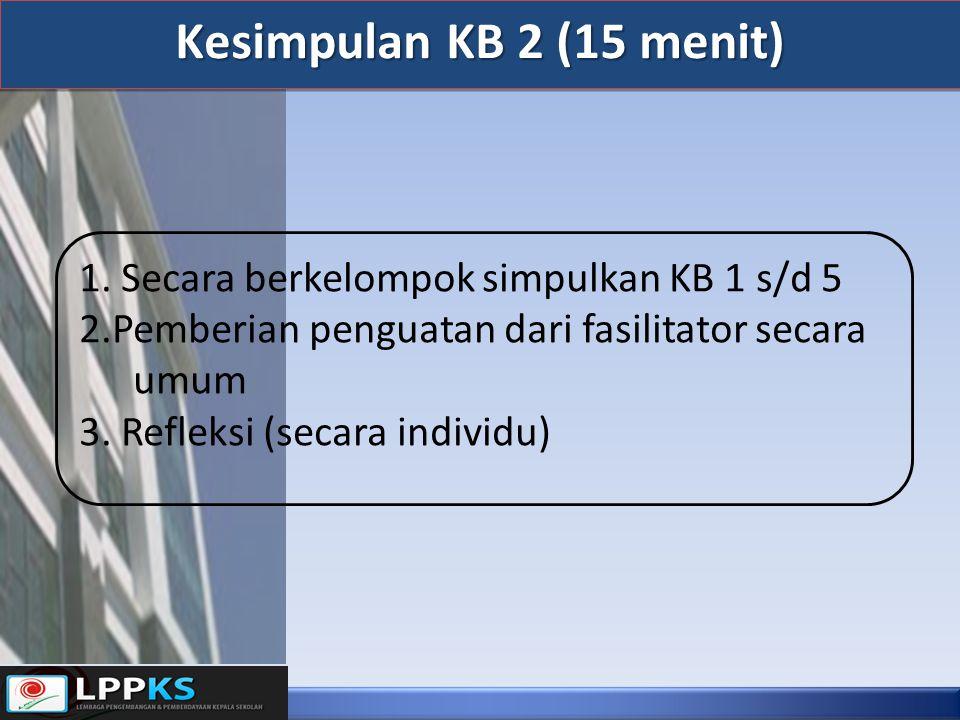 Kesimpulan KB 2 (15 menit) 1. Secara berkelompok simpulkan KB 1 s/d 5 2.Pemberian penguatan dari fasilitator secara umum 3. Refleksi (secara individu)