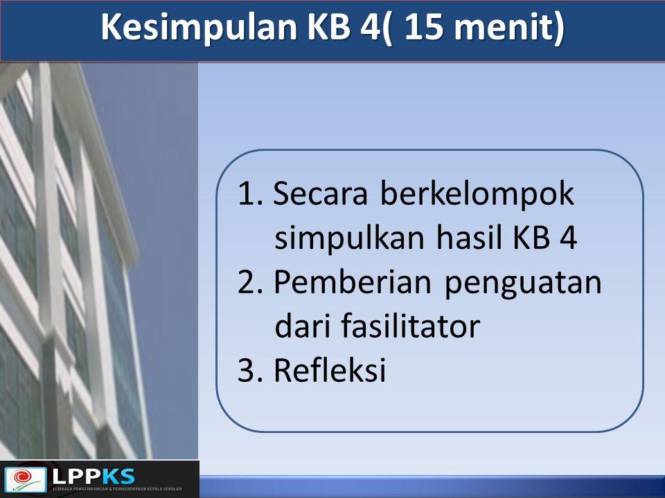 Kesimpulan KB 4( 15 menit) 1. Secara berkelompok simpulkan hasil KB 4 2. Pemberian penguatan dari fasilitator 3. Refleksi