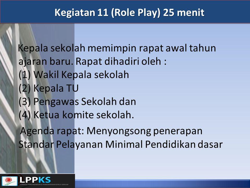 Kegiatan 11 (Role Play) 25 menit Kepala sekolah memimpin rapat awal tahun ajaran baru. Rapat dihadiri oleh : (1) Wakil Kepala sekolah (2) Kepala TU (3
