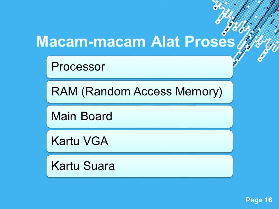 Powerpoint Templates Page 16 ProcessorRAM (Random Access Memory)Main BoardKartu VGAKartu Suara