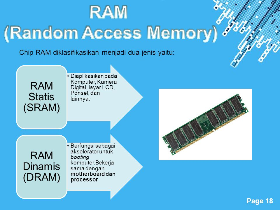 Powerpoint Templates Page 18 •Diaplikasikan pada Komputer, Kamera Digital, layar LCD, Ponsel, dan lainnya. RAM Statis (SRAM) •Berfungsi sebagai aksele