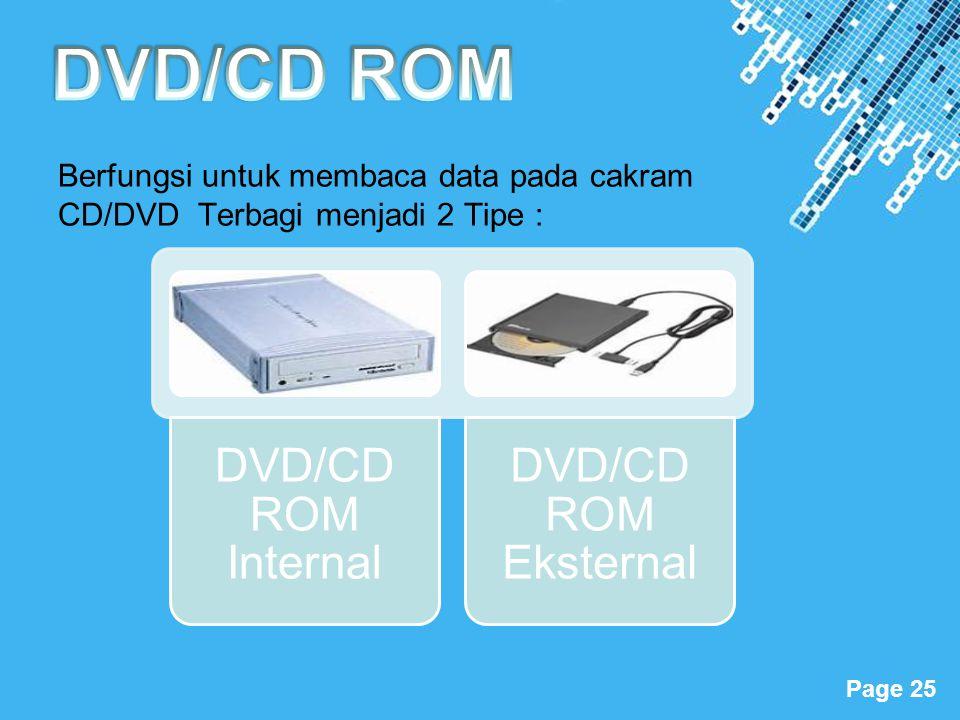 Powerpoint Templates Page 25 Berfungsi untuk membaca data pada cakram CD/DVD Terbagi menjadi 2 Tipe : DVD/CD ROM Internal DVD/CD ROM Eksternal