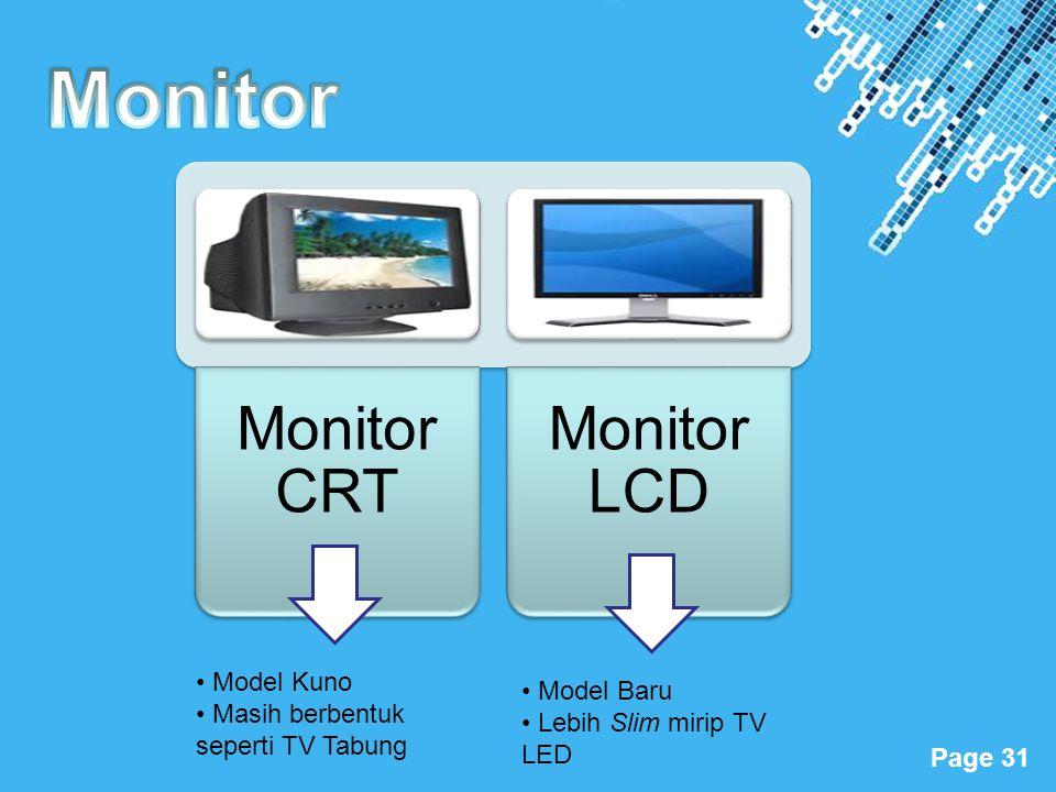 Powerpoint Templates Page 31 Monitor CRT Monitor LCD • Model Kuno • Masih berbentuk seperti TV Tabung • Model Baru • Lebih Slim mirip TV LED