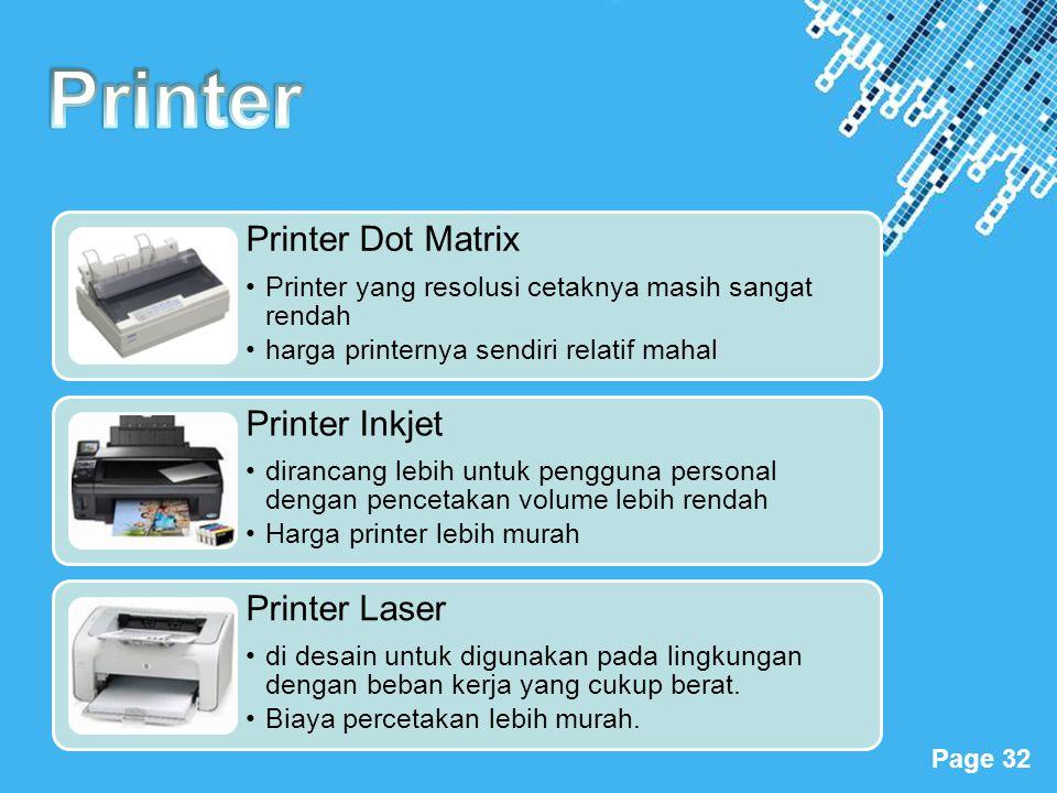 Powerpoint Templates Page 32 Printer Dot Matrix •Printer yang resolusi cetaknya masih sangat rendah •harga printernya sendiri relatif mahal Printer In