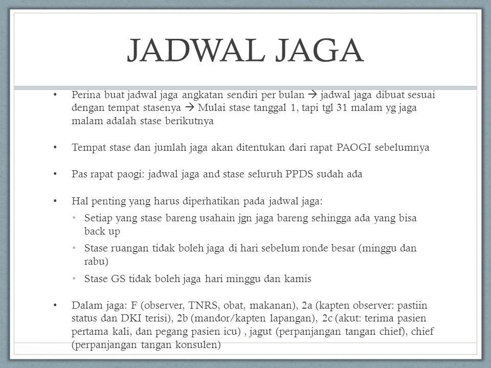 JADWAL JAGA • Perina buat jadwal jaga angkatan sendiri per bulan  jadwal jaga dibuat sesuai dengan tempat stasenya  Mulai stase tanggal 1, tapi tgl