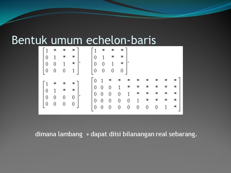 Bentuk umum echelon-baris dimana lambang ∗ dapat diisi bilanangan real sebarang.