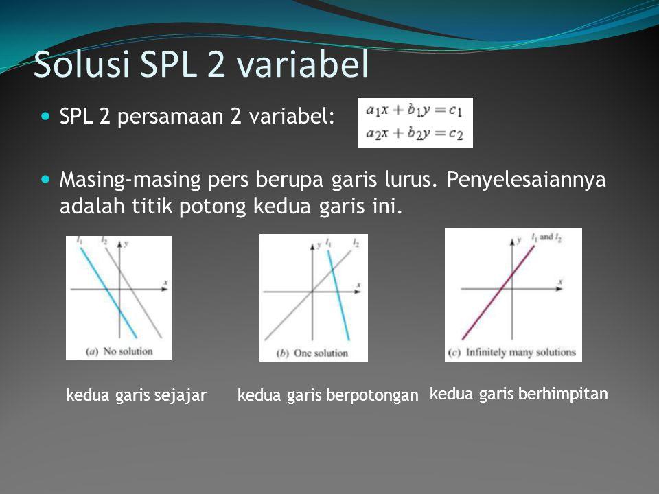 Solusi SPL 2 variabel  SPL 2 persamaan 2 variabel:  Masing-masing pers berupa garis lurus. Penyelesaiannya adalah titik potong kedua garis ini. kedu
