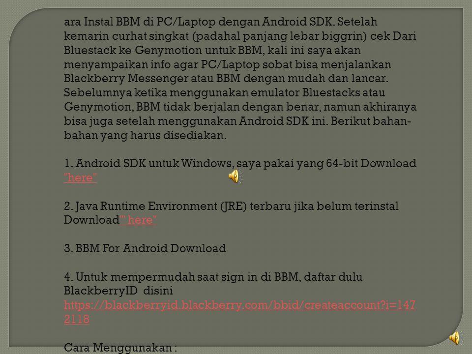 ara Instal BBM di PC/Laptop dengan Android SDK.