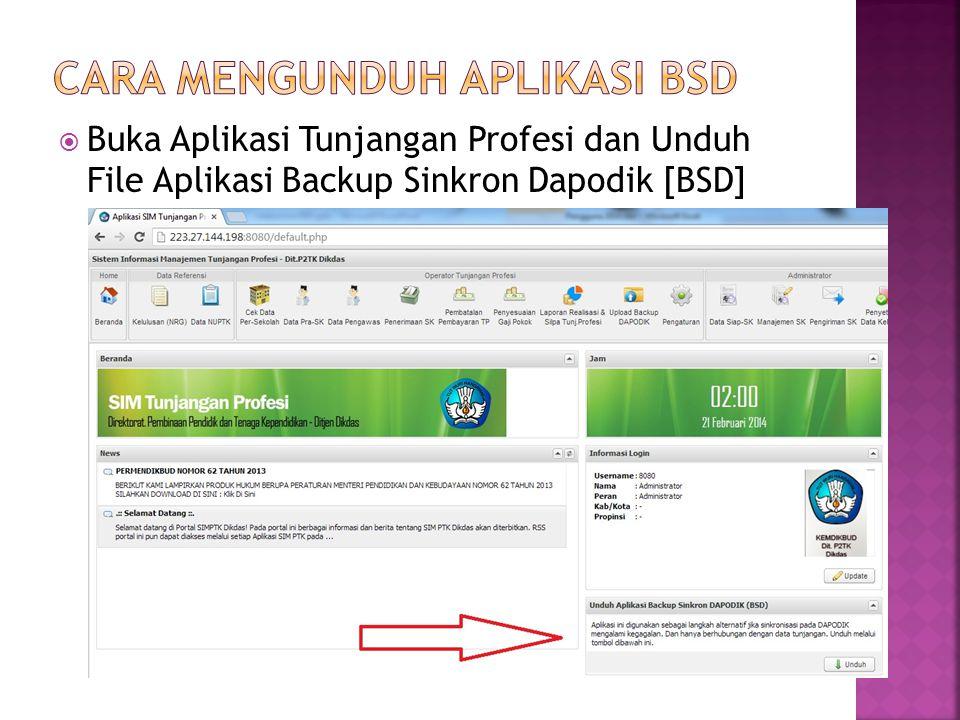  Aplikasi BSD yang sudah di Unduh bernama AplikasiBSD.exe  Aplikasi BSD diinstall pada laptop/komputer yang terinstall Aplikasi Dapodik.
