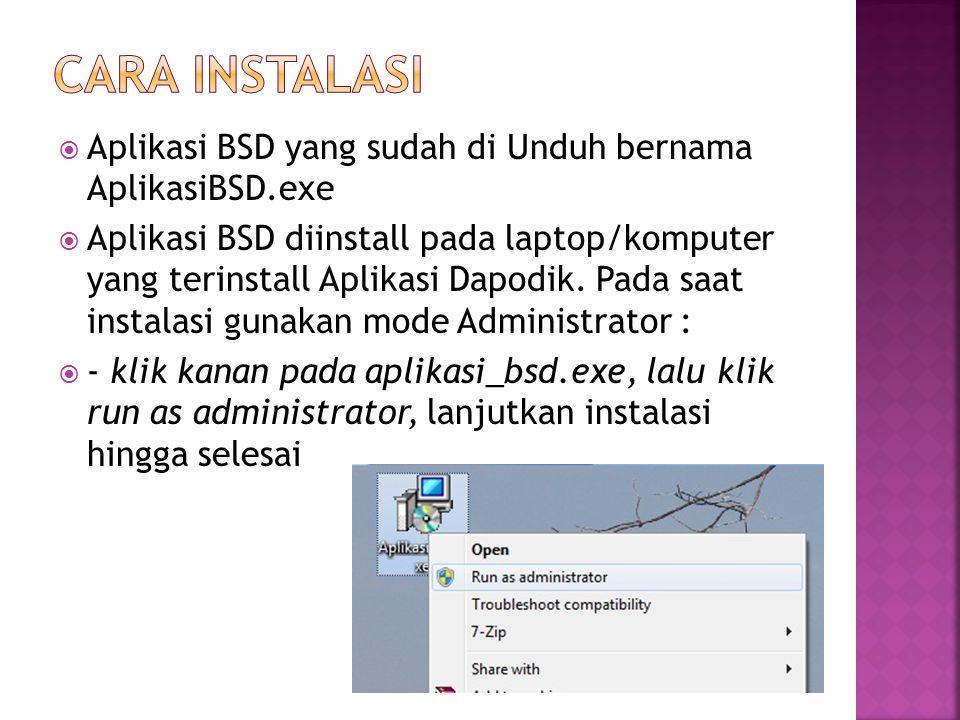  Pada aplikasi yang sudah di instal Pada Start Menu, (Backup Sinkron Dapodik)  Pilih folder tujuan penyimpanan  File hasil backup berekstensi.std, Nama file tidak boleh diubah  Kirimkan file tsb ke Opertator tunjangan di dinas masing2