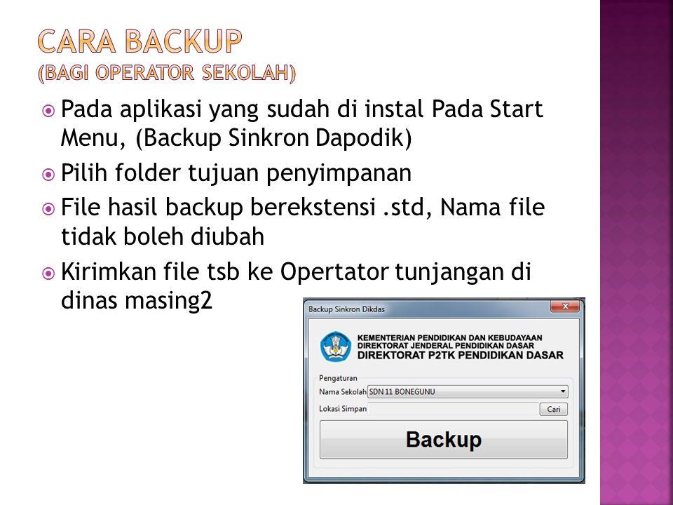  Copy kan file.std ke dalam hardisk yang terkoneksi dengan jaringan internet  Buka Aplikasi Tunjangan Profesi  Buka Menu [Upload BackUp DAPODIK]