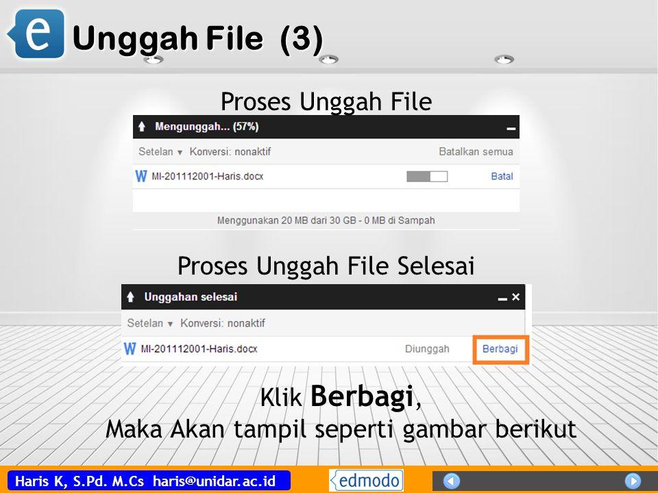 Haris K, S.Pd. M.Cs haris@unidar.ac.id Unggah File (3) Proses Unggah File Proses Unggah File Selesai Klik Berbagi, Maka Akan tampil seperti gambar ber