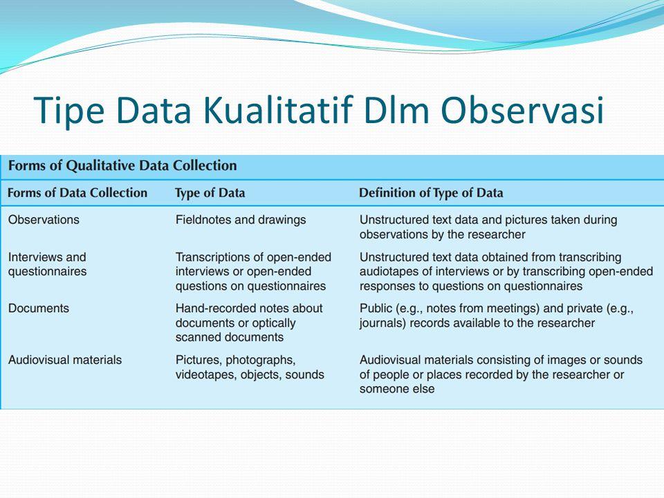 Tipe Data Kualitatif Dlm Observasi