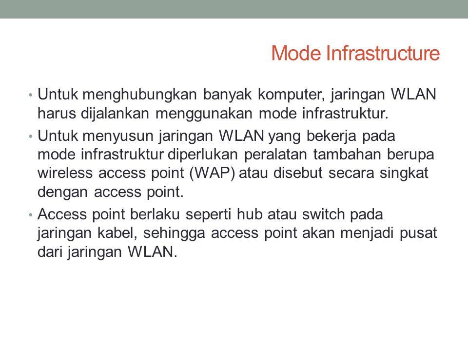Mode Infrastructure • Untuk menghubungkan banyak komputer, jaringan WLAN harus dijalankan menggunakan mode infrastruktur. • Untuk menyusun jaringan WL