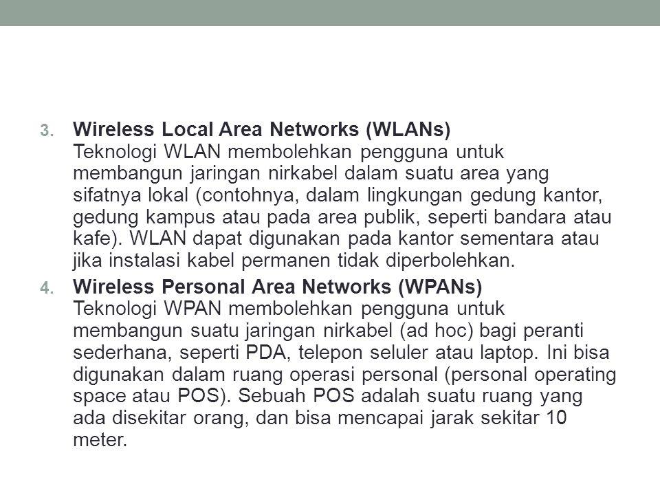 3. Wireless Local Area Networks (WLANs) Teknologi WLAN membolehkan pengguna untuk membangun jaringan nirkabel dalam suatu area yang sifatnya lokal (co