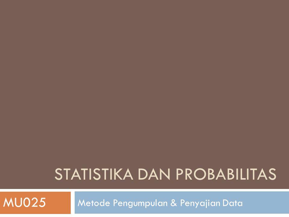STATISTIKA DAN PROBABILITAS Metode Pengumpulan & Penyajian Data MU025