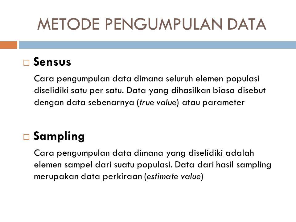 METODE PENGUMPULAN DATA  Sensus Cara pengumpulan data dimana seluruh elemen populasi diselidiki satu per satu. Data yang dihasilkan biasa disebut den