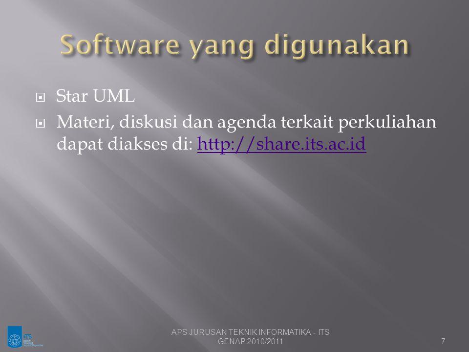  Star UML  Materi, diskusi dan agenda terkait perkuliahan dapat diakses di: http://share.its.ac.idhttp://share.its.ac.id 7 APS JURUSAN TEKNIK INFORM