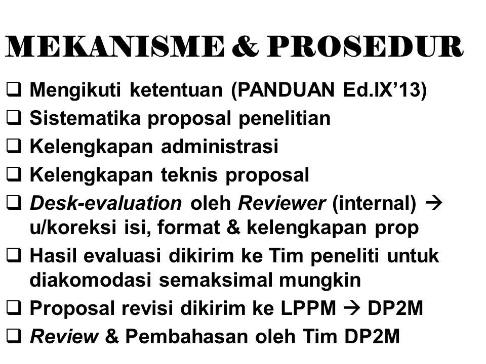 MEKANISME & PROSEDUR  Mengikuti ketentuan (PANDUAN Ed.IX'13)  Sistematika proposal penelitian  Kelengkapan administrasi  Kelengkapan teknis proposal  Desk-evaluation oleh Reviewer (internal)  u/koreksi isi, format & kelengkapan prop  Hasil evaluasi dikirim ke Tim peneliti untuk diakomodasi semaksimal mungkin  Proposal revisi dikirim ke LPPM  DP2M  Review & Pembahasan oleh Tim DP2M