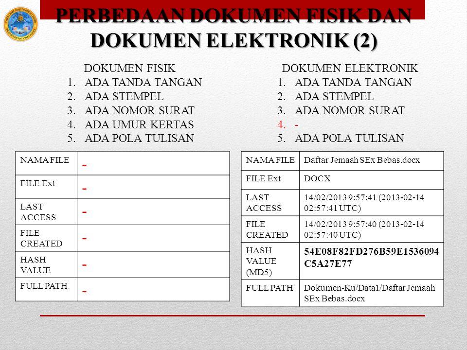 PERBEDAAN DOKUMEN FISIK DAN DOKUMEN ELEKTRONIK (2) DOKUMEN FISIK DOKUMEN ELEKTRONIK 1.ADA TANDA TANGAN 2.ADA STEMPEL 3.ADA NOMOR SURAT 4.ADA UMUR KERT