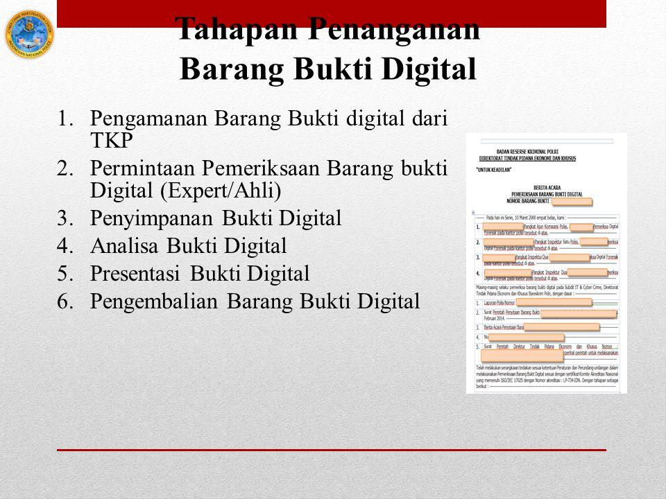 Tahapan Penanganan Barang Bukti Digital 1.Pengamanan Barang Bukti digital dari TKP 2.Permintaan Pemeriksaan Barang bukti Digital (Expert/Ahli) 3.Penyi
