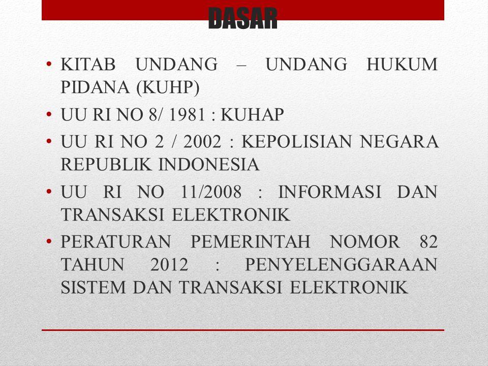DASAR • KITAB UNDANG – UNDANG HUKUM PIDANA (KUHP) • UU RI NO 8/ 1981 : KUHAP • UU RI NO 2 / 2002 : KEPOLISIAN NEGARA REPUBLIK INDONESIA • UU RI NO 11/