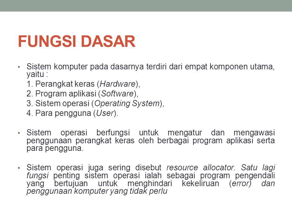 FUNGSI DASAR • Sistem komputer pada dasarnya terdiri dari empat komponen utama, yaitu : 1.